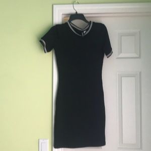 black tight casual dress